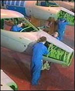 Workers building planes at Shorts