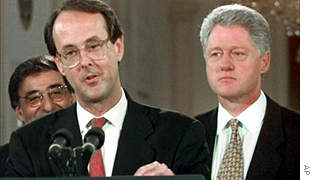 Erskine Bowles (left) served as chief of staff for former President Clinton