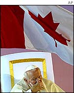Pope John Paul II during his visit to Canada