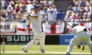 Marcus Trescothick hits out for England at the Adelaide Oval