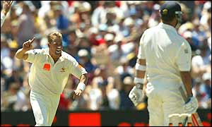 Shane Warne celebrates dismissing England's Robert Key