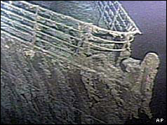 Picture of the Titanic taken by unmanned submarine Argos