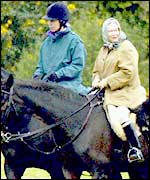 Princess Anne and the Queen (right)