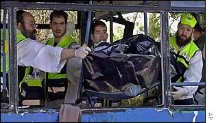 Medics and volunteers remove a body from a bus hit by a suicide bomber