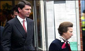 Princess Anne and husband Tim Laurence leaving court