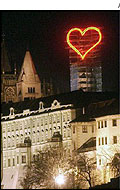 A neon heart over Prague Castle marks the 13th anniversary of the Velvet Revolution