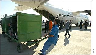 A UN plane is unloaded at Baghdad airport