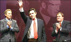 Chancellor Gordon Brown flanked by Prime Minister Tony Blair and Deputy John Prescott