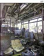 Interior of bombed bus