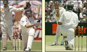 Andy Caddick is bowled cleanly by Shane Warne as he claims his fourth wicket of the innings