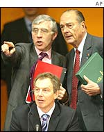 From left: Jack Straw, Tony Blair and Jacques Chirac