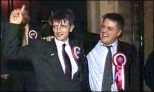 Robin Evans (left) celebrates his victory with BNP leader Nick Griffin