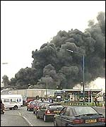 Plastics factory fire, west Midlands