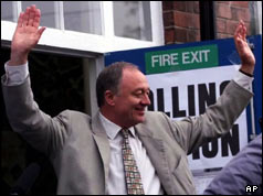 Ken Livingstone emerges from the polling station at Cricklewood - 4 May