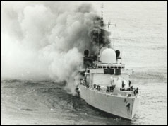 HMS Sheffield on fire in the South Atlantic