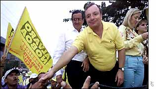 Presidential candidate Alvaro Noboa meets supporters at a rally in Guayaquil