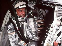 Alan Shepard in his Mercury 3 capsule