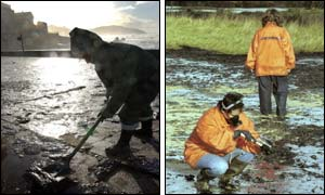 Volunteer on a beach (l) and members of Greenpeace take samples (r) (pictures courtesy of AP and AFP)