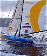 Ellen MacArthur, sailing Kingfisher, won the Route du Rhum