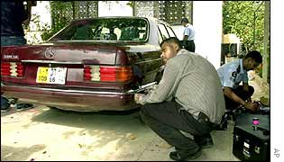 Investigators dust Mr Foley's car for fingerprints