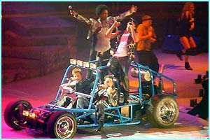 The boys drove on in a buggy to perform the final song Fly By