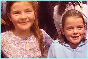 Isabelle 11 and Eleanor 8 from Beeston stood up for the entire show - they both love Lee best