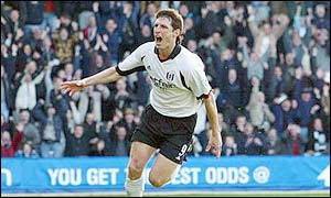 Facundo Sava celebrates after he scores the first goal for Fulham against Liverpool