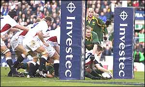 Will Greenwood dives over to score England's second try