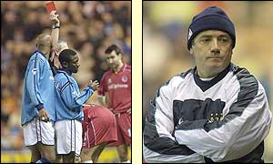 Shaun Wright-Phillips is sent-off as Kevin Keegan's men are beaten