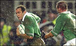 Girvan Dempsey scores Ireland's only try against Argentina