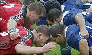 Canada pack down in the scrum against France in Paris