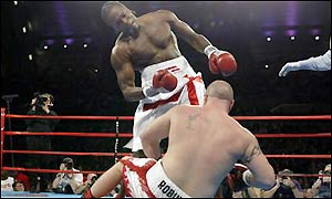 Audley Harrison floors his unconvincing opponent two minutes and nine second into the first round
