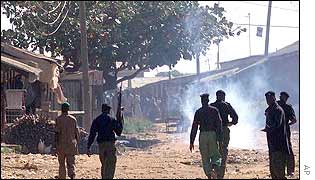 Security forces use teargas to disperse crowd