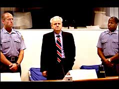 Slobodan Milosevic at the Hague War Crimes Tribunal