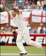 Andy Bichel takes a wicket for Australia