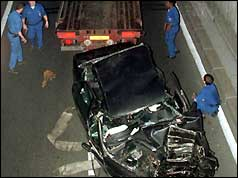 The wreck of Princess Diana's car being removed