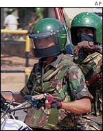 Sri Lankan soldiers on patrol