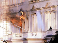 Iranian embassy on fire during the raid by the SAS