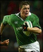 Ireland centre and captain Brian O'Driscoll takes on the Argentina defence