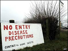 A precautionary sign at a farm in Thirsk, northern England, March 2001