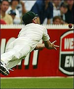 Glenn McGrath catches Michael Vaughan on the final day