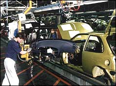 A Ford Fiesta production line in Dagenham before the job cuts