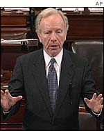 Senator Joseph Lieberman, Democrat of Connecticut, speaks on the Senate floor