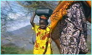 Even children as young as two have to carry their own water
