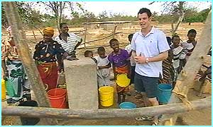 The Blue Peter appeal wants to put new pumps and taps into the villages, like this one Matt visited
