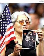A mourner at the Yankee Stadium ceremony