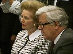 Geoffrey Howe with Mrs Thatcher