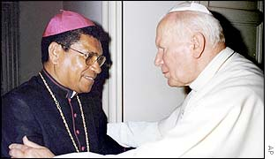 Pope John Paul II, right, greets Nobel Peace Prize winner and East Timorese Bishop Carlos Belo before private talks at the Vatican, September 1999