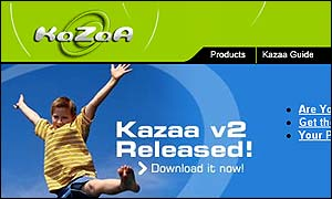 Kazaa front page