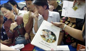 Thai people queue up to buy a book